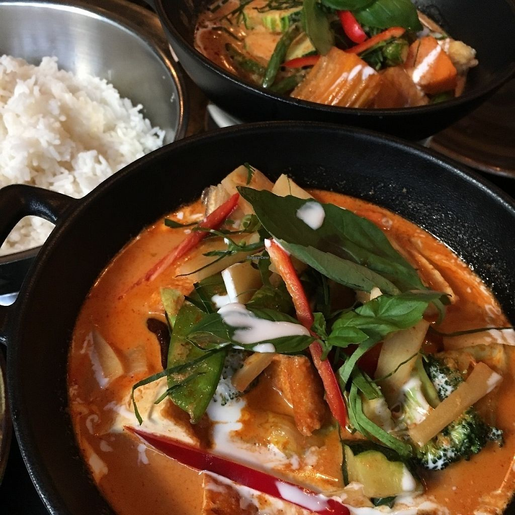 "Photo of Red Koi Thai  by <a href=""/members/profile/SeitanSeitanSeitan"">SeitanSeitanSeitan</a> <br/>Some yummy vegan curries <br/> May 19, 2017  - <a href='/contact/abuse/image/92460/260360'>Report</a>"