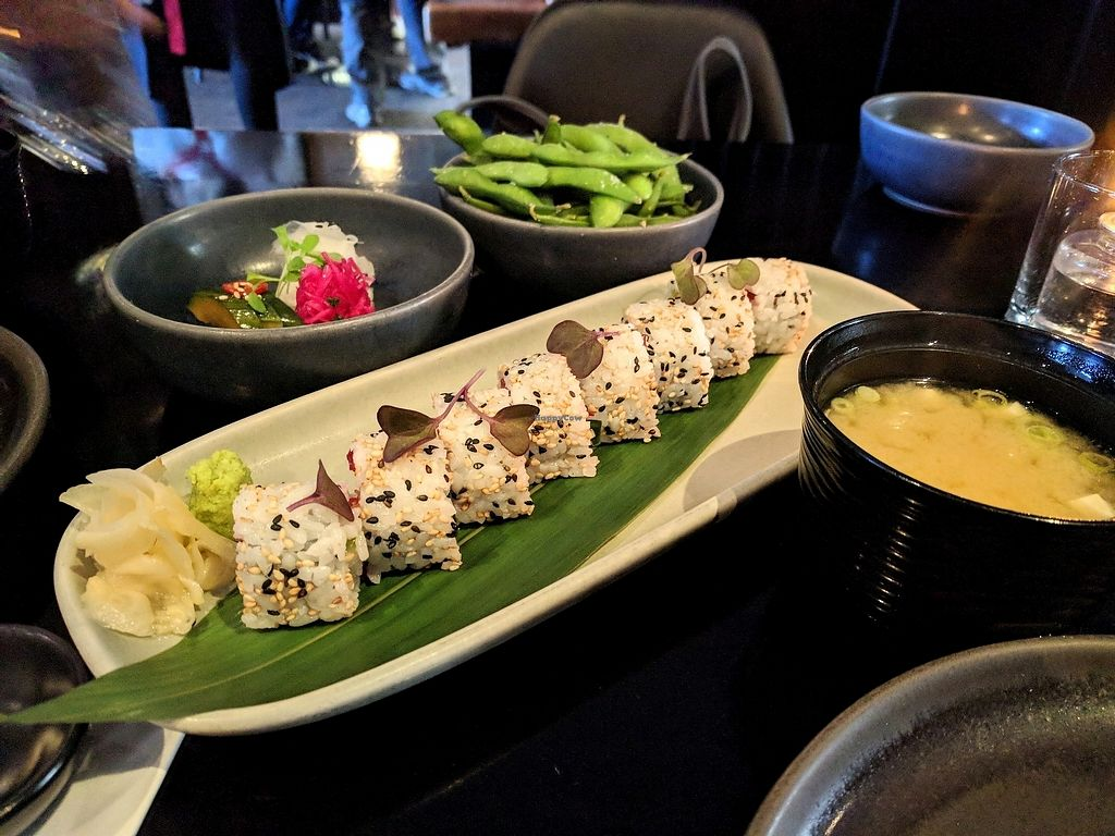 """Photo of Ebisu  by <a href=""""/members/profile/The%20Hungry%20Vegan"""">The Hungry Vegan</a> <br/>Vegan Set, Course 1 - Sushi, Edamame, Pickled Vegetables, Miso Soup <br/> December 31, 2017  - <a href='/contact/abuse/image/92486/341449'>Report</a>"""