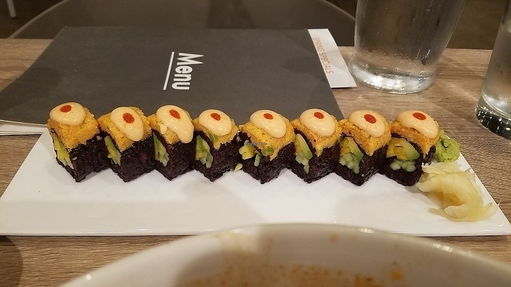 "Photo of Beyond Sushi - Herald Square  by <a href=""/members/profile/thomasjohnlynch"">thomasjohnlynch</a> <br/>mango black rice sushi <br/> June 13, 2017  - <a href='/contact/abuse/image/92497/268542'>Report</a>"