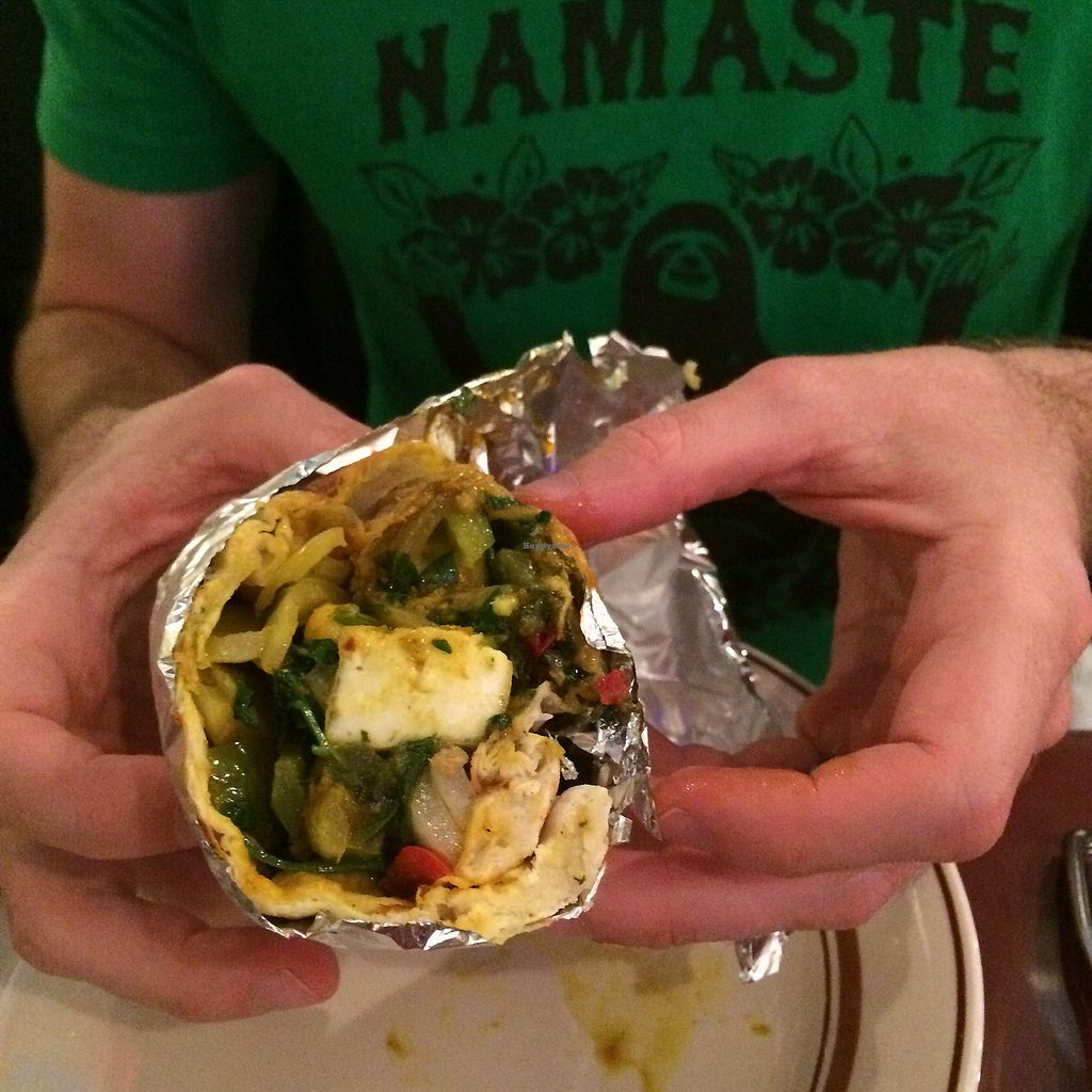 """Photo of Bombay Flames  by <a href=""""/members/profile/KatieBush"""">KatieBush</a> <br/>vegetarian paneer wrap <br/> September 21, 2017  - <a href='/contact/abuse/image/92522/306736'>Report</a>"""