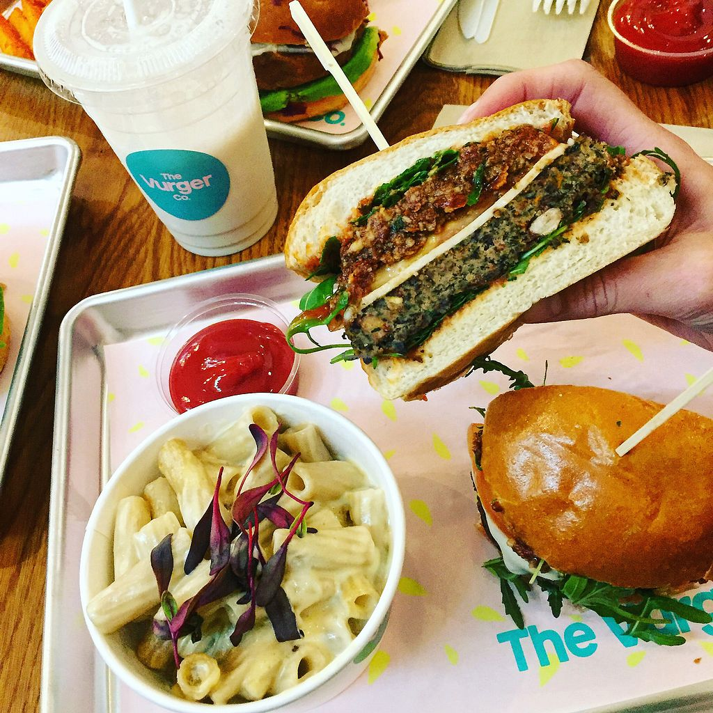 """Photo of The Vurger Co.  by <a href=""""/members/profile/koringal"""">koringal</a> <br/>Truffle mac, banana caramel shake and MLT burger filled with THE BEST sundried tomato pesto ?? <br/> March 23, 2018  - <a href='/contact/abuse/image/92574/374903'>Report</a>"""