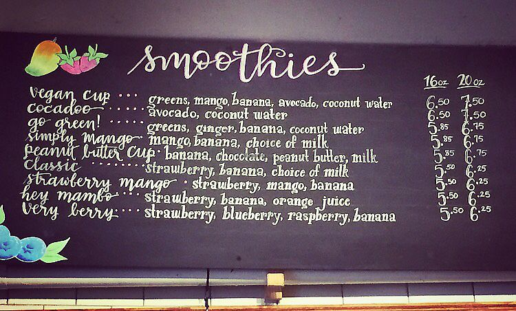 """Photo of Brü Chicago  by <a href=""""/members/profile/happycowgirl"""">happycowgirl</a> <br/>great smoothie menu <br/> August 15, 2017  - <a href='/contact/abuse/image/92645/293061'>Report</a>"""