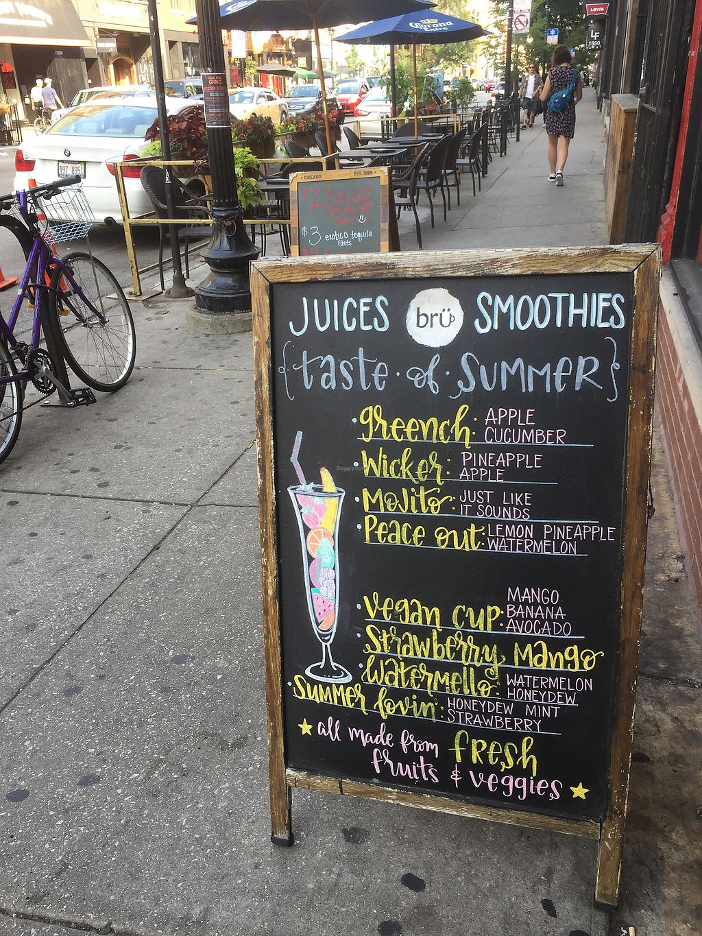 """Photo of Brü Chicago  by <a href=""""/members/profile/happycowgirl"""">happycowgirl</a> <br/>juices and smoothies <br/> August 16, 2017  - <a href='/contact/abuse/image/92645/293116'>Report</a>"""