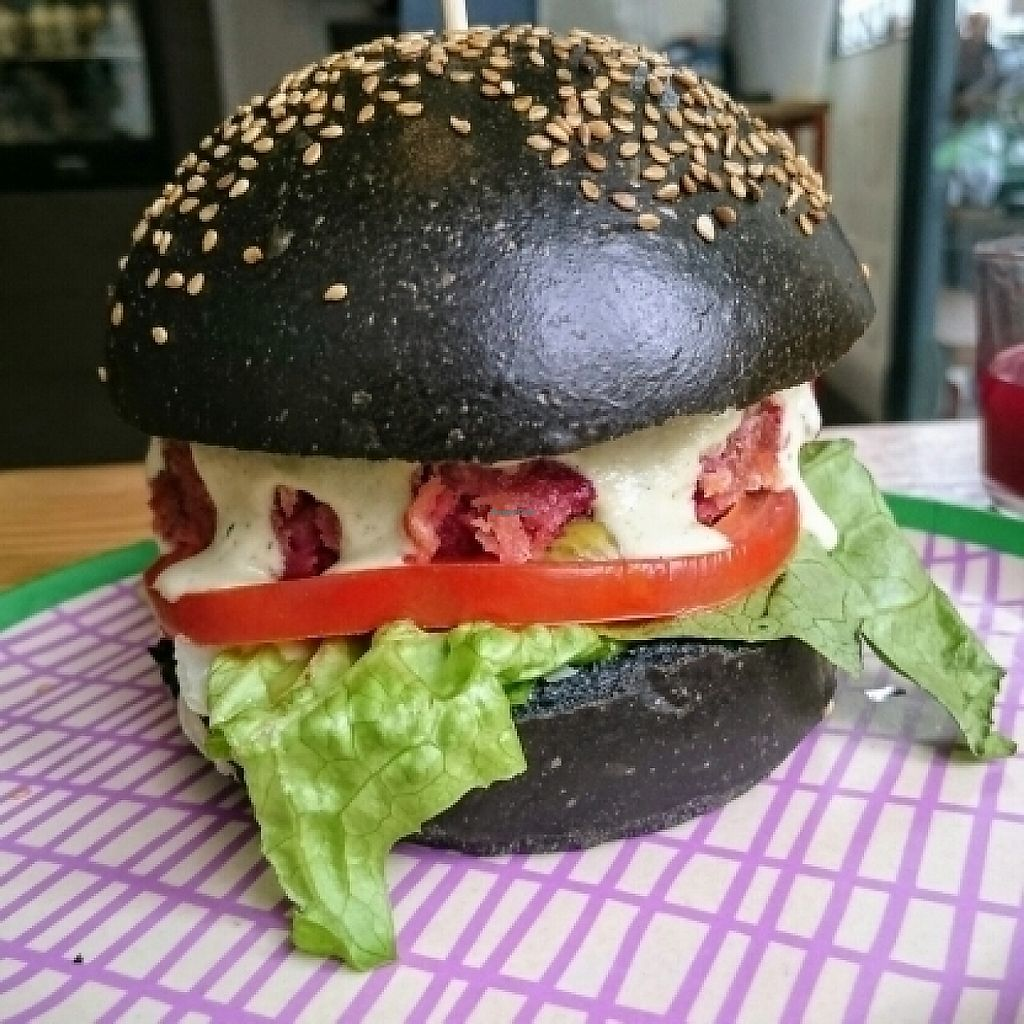 """Photo of Roots Juicery  by <a href=""""/members/profile/robz"""">robz</a> <br/>vegan burger <br/> May 22, 2017  - <a href='/contact/abuse/image/92666/261525'>Report</a>"""
