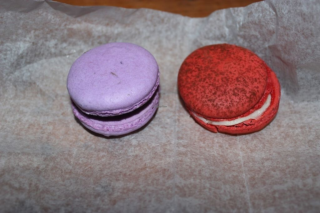 """Photo of SweetSide Cafe  by <a href=""""/members/profile/veggie_htx"""">veggie_htx</a> <br/>Vegan macarons! Lavender-chocolate & red velvet <br/> September 9, 2017  - <a href='/contact/abuse/image/92688/302222'>Report</a>"""