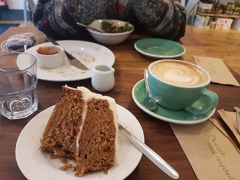 """Photo of 387 Ormeau Road  by <a href=""""/members/profile/DylanBoyd"""">DylanBoyd</a> <br/>carrot cake and oat milk cappuccino <br/> June 8, 2017  - <a href='/contact/abuse/image/92697/266953'>Report</a>"""