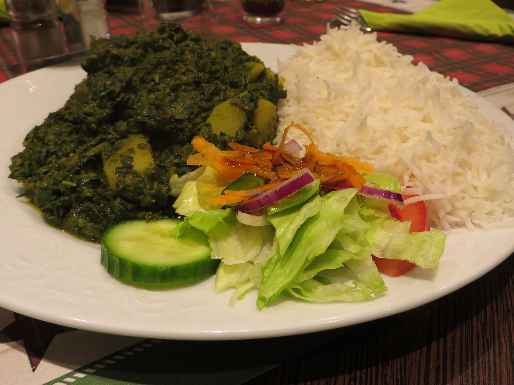 """Photo of Veggie House  by <a href=""""/members/profile/VegiAnna"""">VegiAnna</a> <br/>No. 143 """"Alloo Palak"""" (vegan) <br/> December 26, 2017  - <a href='/contact/abuse/image/92758/339173'>Report</a>"""