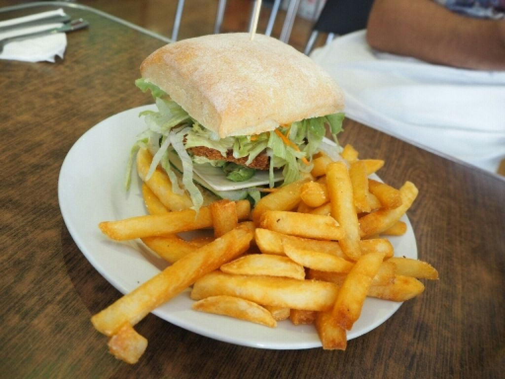 """Photo of Zenhouse Vegetarian Yum Cha   by <a href=""""/members/profile/JanineBarthel"""">JanineBarthel</a> <br/>delicious vegan burger with cheese and fries  <br/> March 3, 2016  - <a href='/contact/abuse/image/9275/138585'>Report</a>"""
