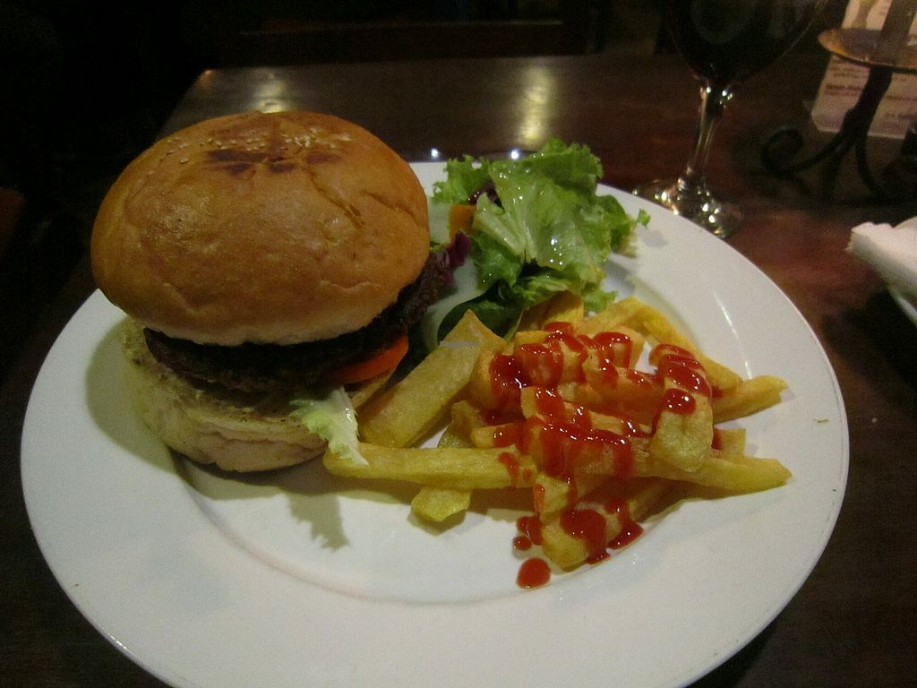 """Photo of New Orleans Café & Wine Bar  by <a href=""""/members/profile/Amanda%20Panda"""">Amanda Panda</a> <br/>veggie burger and fries  NPR 3100 <br/> May 8, 2018  - <a href='/contact/abuse/image/92775/396931'>Report</a>"""