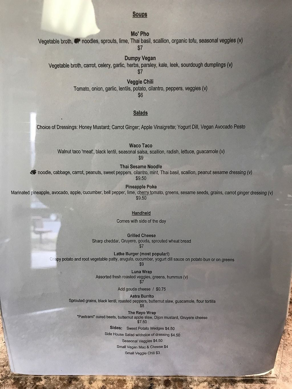 """Photo of Clean Roots Vegetarian Cuisine  by <a href=""""/members/profile/dragonflytotem"""">dragonflytotem</a> <br/>Current menu, eat in or take out <br/> May 26, 2017  - <a href='/contact/abuse/image/92842/262738'>Report</a>"""