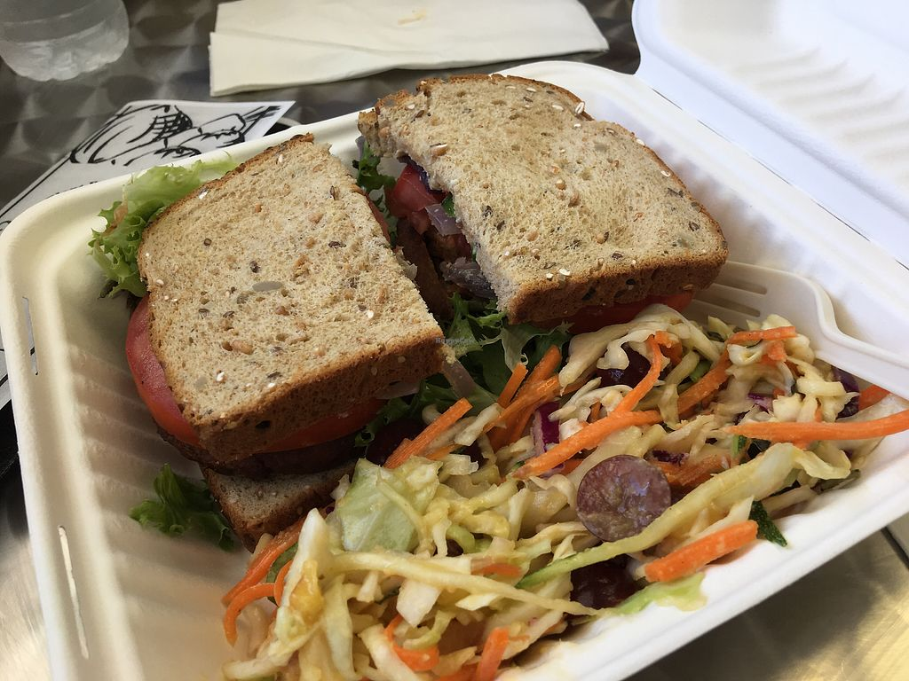 """Photo of Clean Roots Vegetarian Cuisine  by <a href=""""/members/profile/cderstine"""">cderstine</a> <br/>Buffalo falafel sandwich! <br/> July 19, 2017  - <a href='/contact/abuse/image/92842/282234'>Report</a>"""