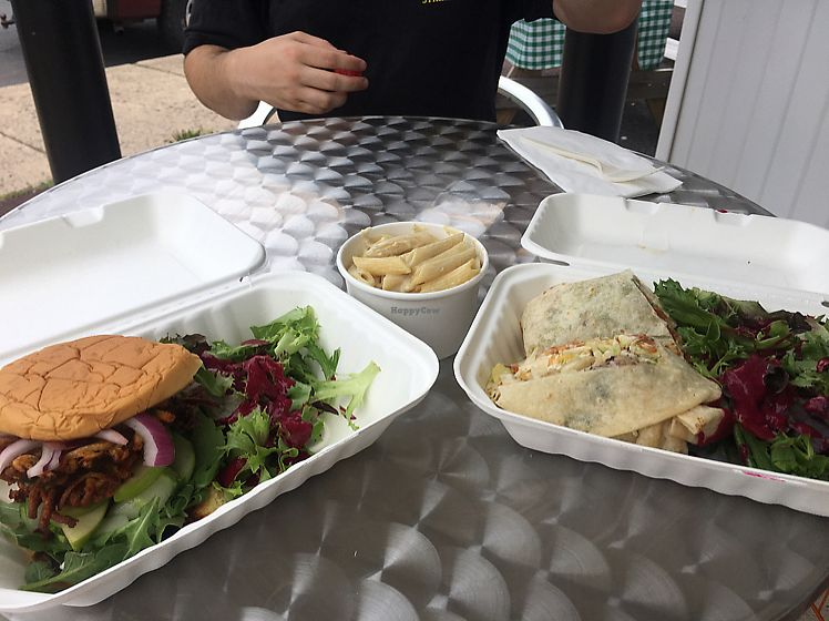 """Photo of Clean Roots Vegetarian Cuisine  by <a href=""""/members/profile/Khajioannou"""">Khajioannou</a> <br/>latke burger, Astro burrito and Mac n cheese! <br/> July 27, 2017  - <a href='/contact/abuse/image/92842/285568'>Report</a>"""