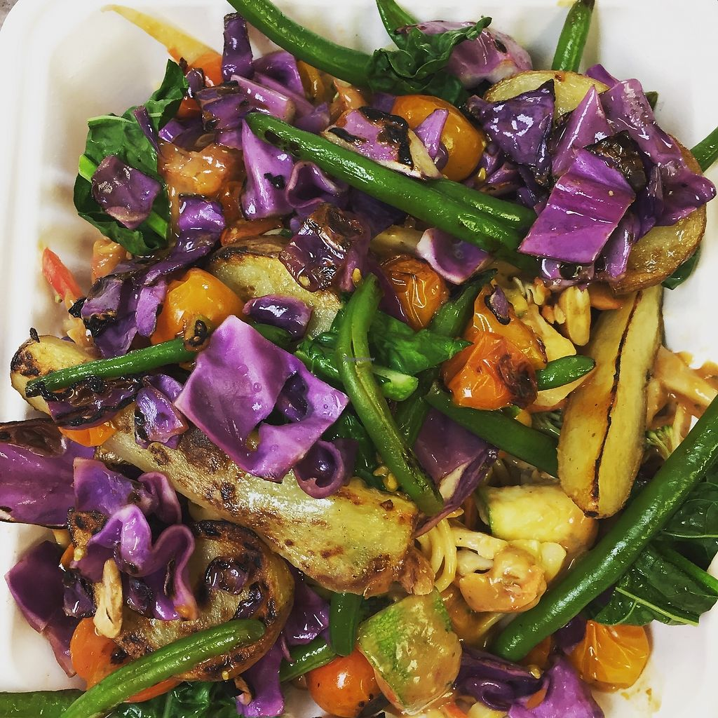"""Photo of Clean Roots Vegetarian Cuisine  by <a href=""""/members/profile/JanLandis"""">JanLandis</a> <br/>Thai sesame with grilled veggies  <br/> August 4, 2017  - <a href='/contact/abuse/image/92842/288444'>Report</a>"""