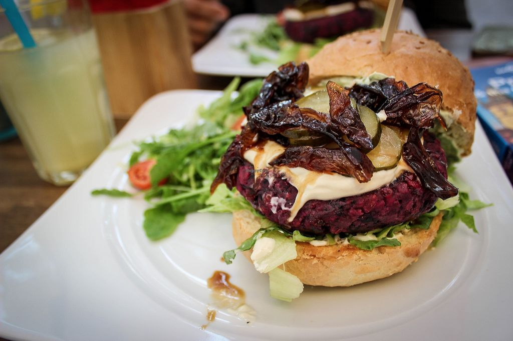 """Photo of Natureza  by <a href=""""/members/profile/SueClesh"""">SueClesh</a> <br/>black-bean and beetroot burger <br/> September 2, 2017  - <a href='/contact/abuse/image/92843/300118'>Report</a>"""