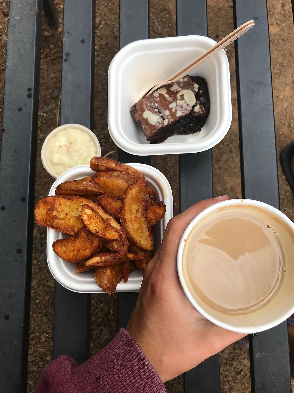 "Photo of Bonorong Wildlife Sanctuary Kiosk and Shop  by <a href=""/members/profile/allyandlouis"">allyandlouis</a> <br/>Wedges, aioli, warmed up brownie, soy coffee <br/> December 20, 2017  - <a href='/contact/abuse/image/92849/337439'>Report</a>"