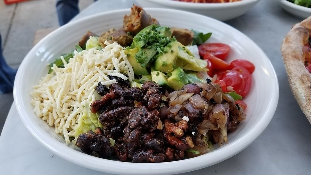"""Photo of Pitfire Pizza - Mar Vista  by <a href=""""/members/profile/kenvegan"""">kenvegan</a> <br/>Salad with Field Roast vegan meat <br/> May 26, 2017  - <a href='/contact/abuse/image/92850/262676'>Report</a>"""
