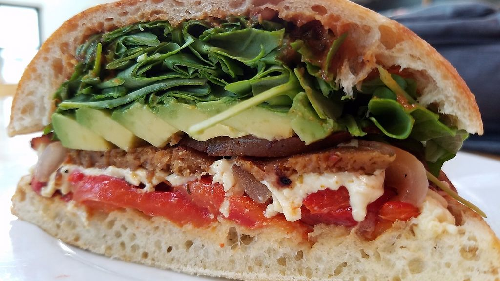 """Photo of Pitfire Pizza  by <a href=""""/members/profile/codydefrate"""">codydefrate</a> <br/>Steak Sandwich, sub Field Roast Sausage, and Daiya Cheese. Avocado, Roasted Peppers, Tomatillo Sauce, House made bread <br/> May 26, 2017  - <a href='/contact/abuse/image/92852/262728'>Report</a>"""