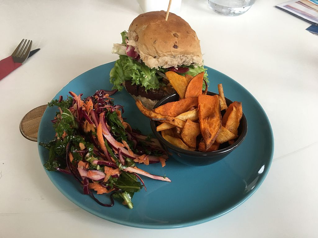 """Photo of The Old Red Bus Station  by <a href=""""/members/profile/CindyGomez"""">CindyGomez</a> <br/>Black Bean, Saitan Beetroot infused Burgers, served with a delicious Sweet Chili Peanut Butter Miso Sauce <br/> June 28, 2017  - <a href='/contact/abuse/image/92881/274268'>Report</a>"""