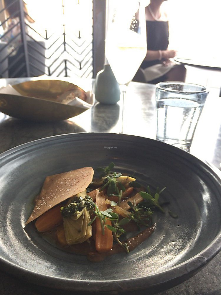 """Photo of The Sugar Club  by <a href=""""/members/profile/LindseyOtterbourg"""">LindseyOtterbourg</a> <br/>Artichoke, carrots, pesto, cracker, sauce was to die for <br/> January 27, 2018  - <a href='/contact/abuse/image/92898/351506'>Report</a>"""