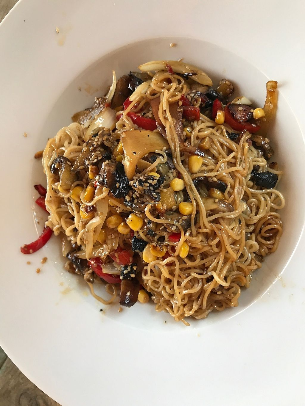 "Photo of Old House  by <a href=""/members/profile/AmyJoyVegan"">AmyJoyVegan</a> <br/>Chinese noodles with vegetables--tasty stir-fry with corn, red pepper, bamboo shoots, and eggplant with ramen style-noodles <br/> June 25, 2017  - <a href='/contact/abuse/image/92924/273182'>Report</a>"