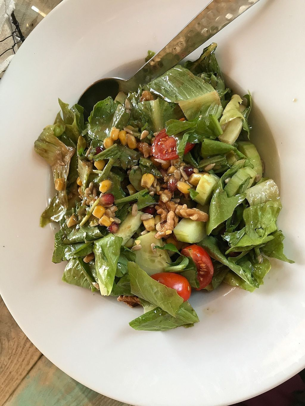 "Photo of Old House  by <a href=""/members/profile/AmyJoyVegan"">AmyJoyVegan</a> <br/>Tahini salad! I could each this every day--fresh greens and veg with nuts, pomegranate seeds and a slightly sweet tahini dressing <br/> June 25, 2017  - <a href='/contact/abuse/image/92924/273183'>Report</a>"