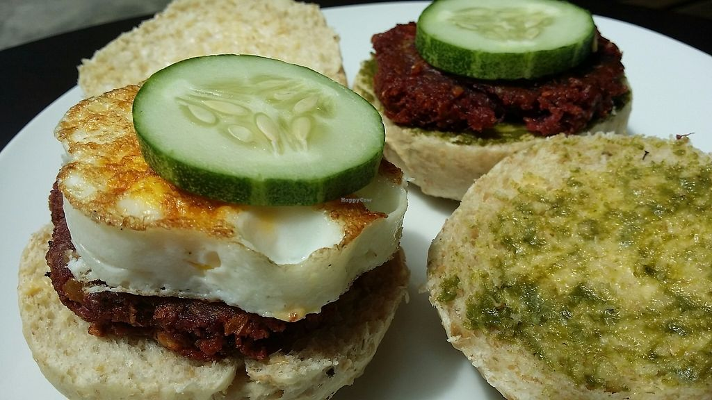 "Photo of Indah Cafe  by <a href=""/members/profile/IndahHouseKuching"">IndahHouseKuching</a> <br/>Vegetarian & vegan burgers. All made at Indah Cafe. Including the buns@ <br/> May 30, 2017  - <a href='/contact/abuse/image/92925/264081'>Report</a>"