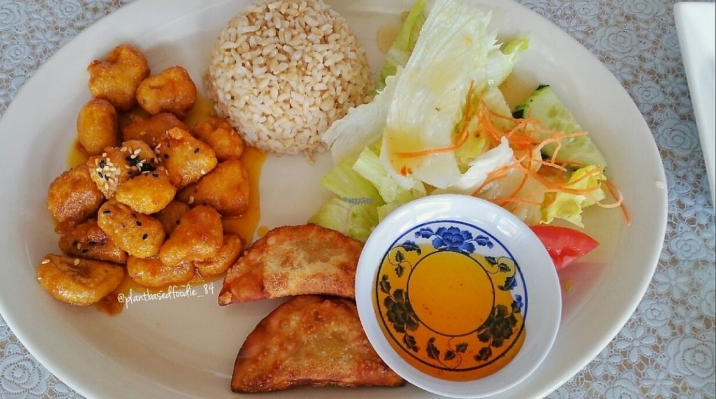 """Photo of CLOSED: Vegan House  by <a href=""""/members/profile/anne420"""">anne420</a> <br/>Orange 'chicken' - lunch special <br/> March 14, 2017  - <a href='/contact/abuse/image/9294/236199'>Report</a>"""