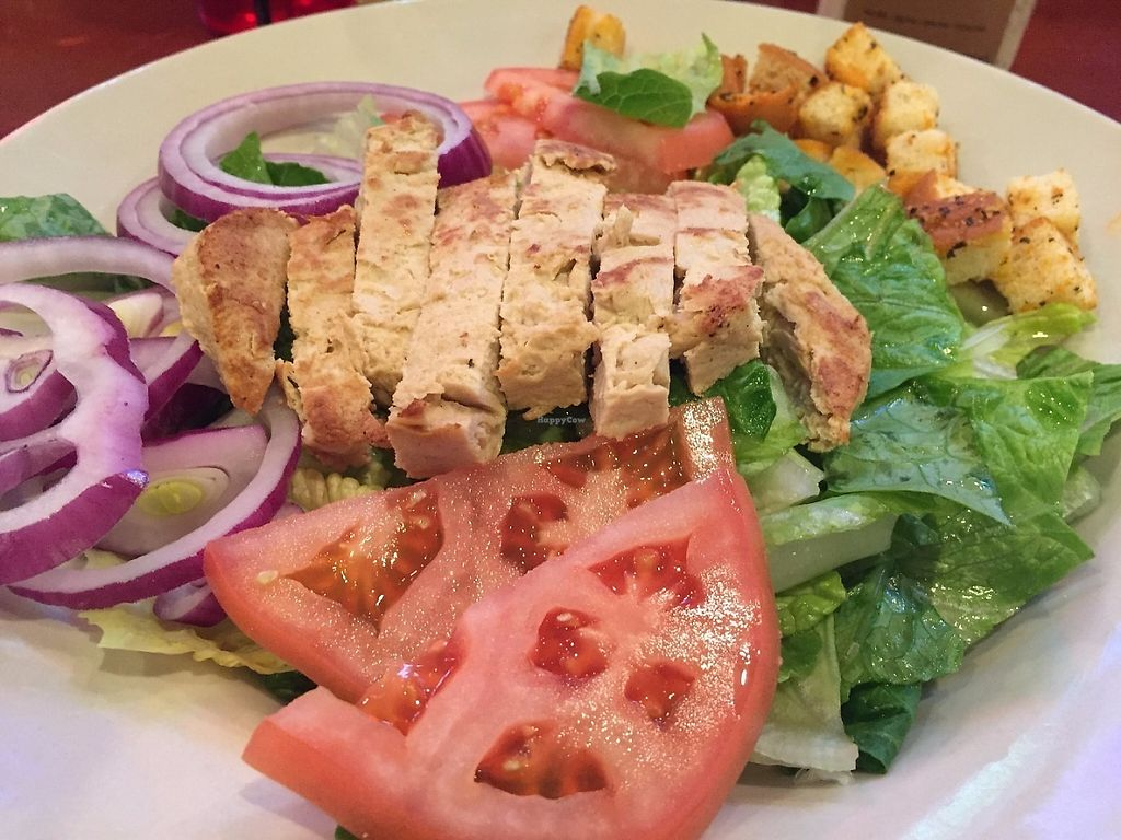 Photo of Legacy Pub  by sst <br/>Caesar Salad with Gardein Chick'n with Just Vegan Dressing served on the side (vegan) <br/> May 31, 2017  - <a href='/contact/abuse/image/92959/264351'>Report</a>