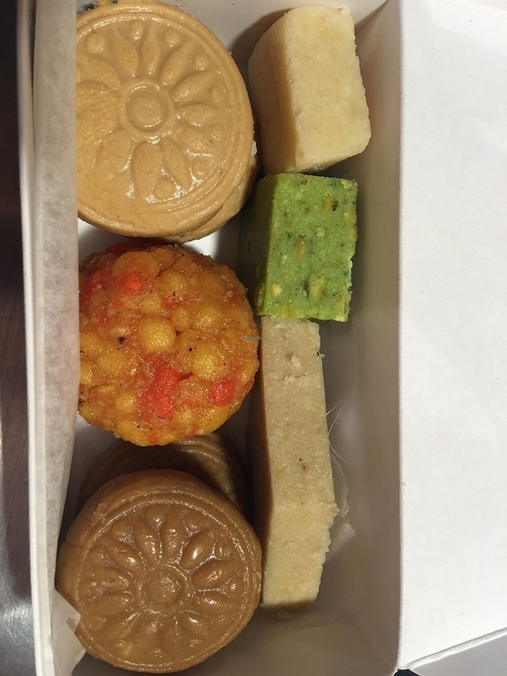 "Photo of Mithai Indian Cafe  by <a href=""/members/profile/davinaray"">davinaray</a> <br/>Gift and favor boxes with vegan and vegetarian desserts. No animal fats.  <br/> May 29, 2017  - <a href='/contact/abuse/image/92970/263692'>Report</a>"