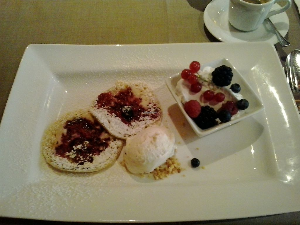 """Photo of Ringhotel Die Gams  by <a href=""""/members/profile/Markvs"""">Markvs</a> <br/>Raspberry-Pancakes with coconut-creme and wood-berrys and icecream - all vegan <br/> May 30, 2017  - <a href='/contact/abuse/image/92974/264099'>Report</a>"""