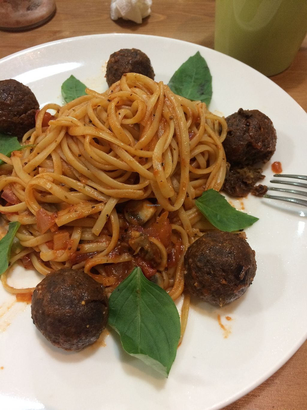 "Photo of Farmer's Kitchen  by <a href=""/members/profile/peasandunderstanding"">peasandunderstanding</a> <br/>The Eggplant M*atballs from Farmer's Kitchen; with fresh basil and spaghetti tossed in hearty tomato sauce.  <br/> April 17, 2018  - <a href='/contact/abuse/image/92978/387237'>Report</a>"