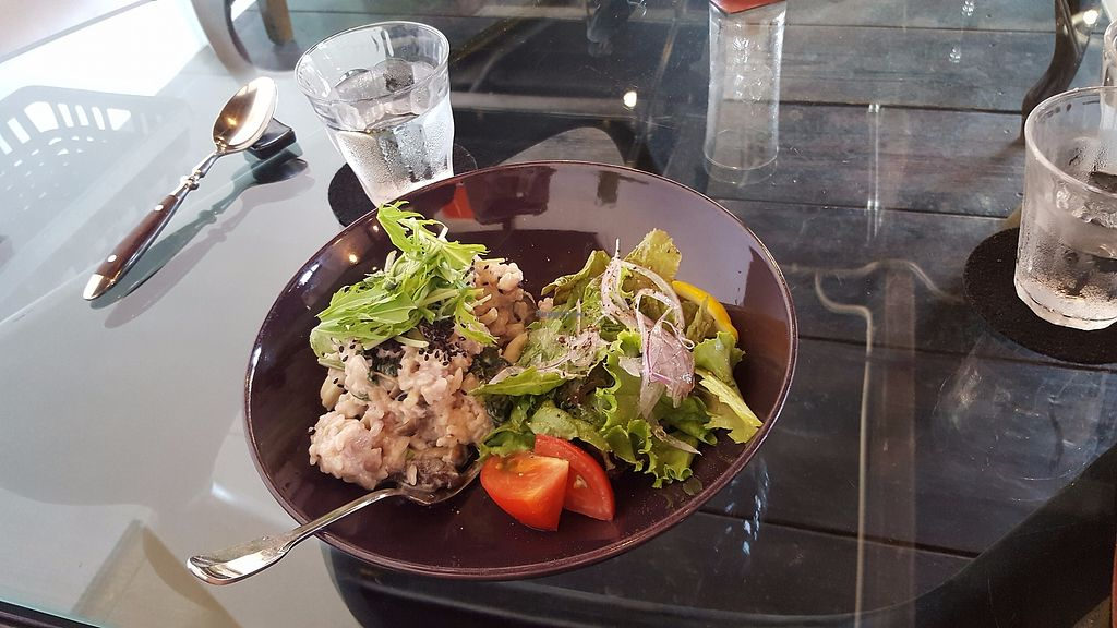 "Photo of Cafe Lente  by <a href=""/members/profile/ChristinaKaras"">ChristinaKaras</a> <br/>Red rice soymilk risotto with side salad <br/> July 16, 2017  - <a href='/contact/abuse/image/92986/280818'>Report</a>"