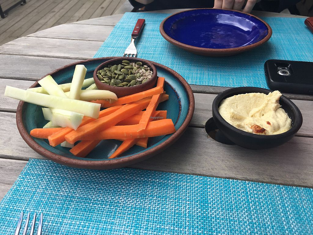 "Photo of Alquimia Restaurante  by <a href=""/members/profile/AimeeS"">AimeeS</a> <br/>Hummus appetizer (on the house) <br/> November 26, 2017  - <a href='/contact/abuse/image/93005/329449'>Report</a>"
