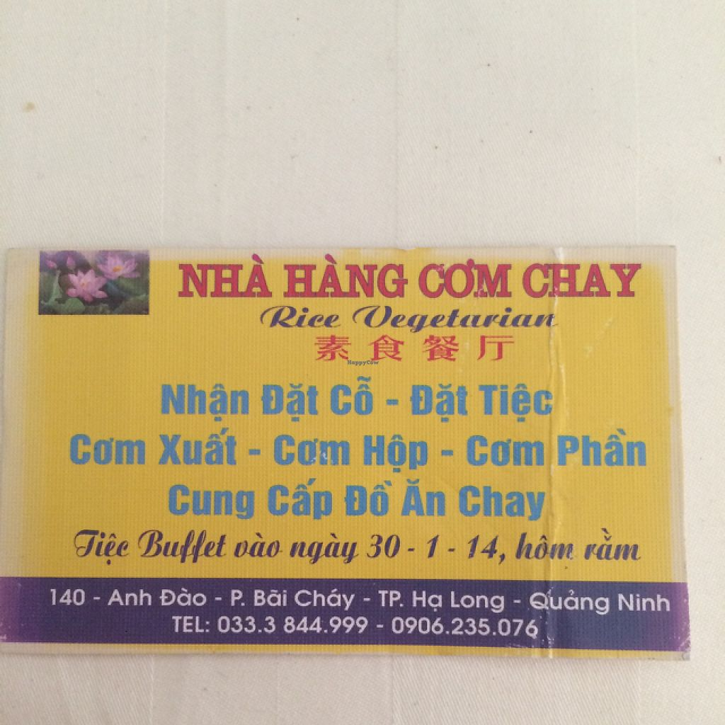 "Photo of Nha Hang Com Chay  by <a href=""/members/profile/Mitjacinda"">Mitjacinda</a> <br/>business card #1 <br/> May 29, 2017  - <a href='/contact/abuse/image/93018/263639'>Report</a>"