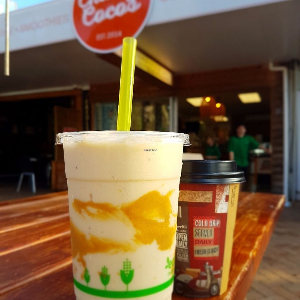 "Photo of Charlie Coco's  by <a href=""/members/profile/AmberBug"">AmberBug</a> <br/>Beach Booster smoothie and an almond mylk chai <br/> May 30, 2017  - <a href='/contact/abuse/image/93064/264313'>Report</a>"