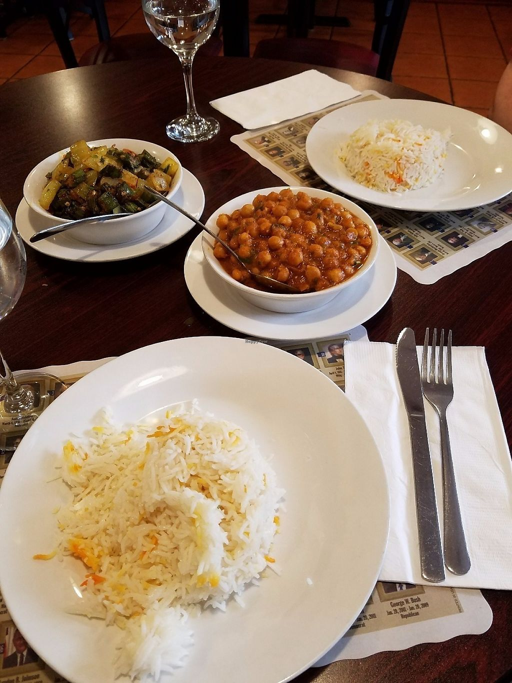 """Photo of Maurya Kebabs & Curries  by <a href=""""/members/profile/MerryRose"""">MerryRose</a> <br/>a tomato and okra curry as well as channa masala with 2 servings of seasoned basmati rice <br/> June 2, 2017  - <a href='/contact/abuse/image/93081/265143'>Report</a>"""