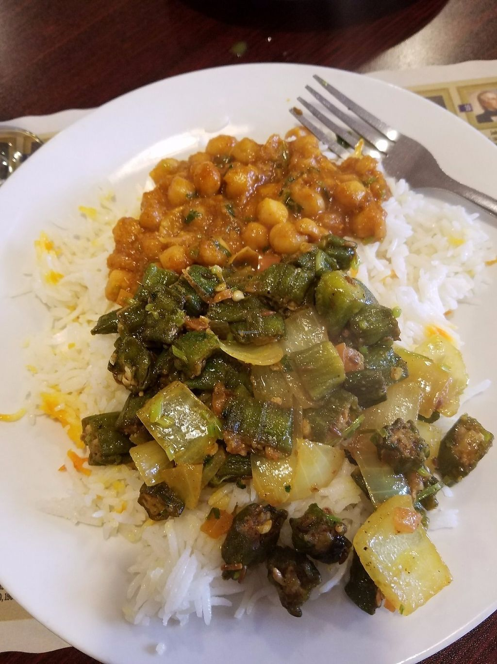 """Photo of Maurya Kebabs & Curries  by <a href=""""/members/profile/MerryRose"""">MerryRose</a> <br/>all dished out (okra, onion, tomato as well as channa masala) <br/> June 2, 2017  - <a href='/contact/abuse/image/93081/265144'>Report</a>"""