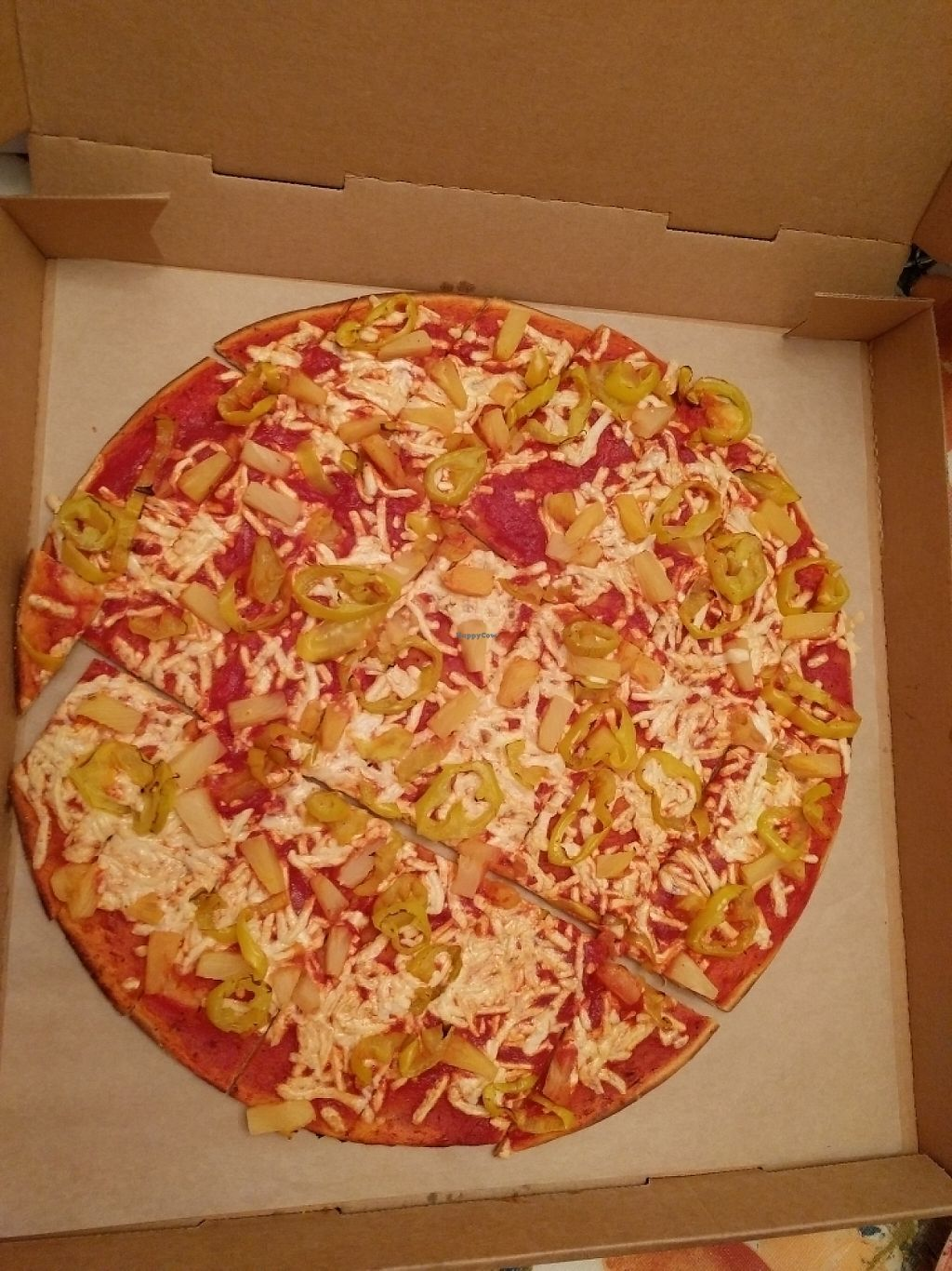 """Photo of Donatos Pizza  by <a href=""""/members/profile/JohnnaJackson"""">JohnnaJackson</a> <br/>Pineapple/banana pepper with vegan cheese <br/> June 1, 2017  - <a href='/contact/abuse/image/93136/264872'>Report</a>"""