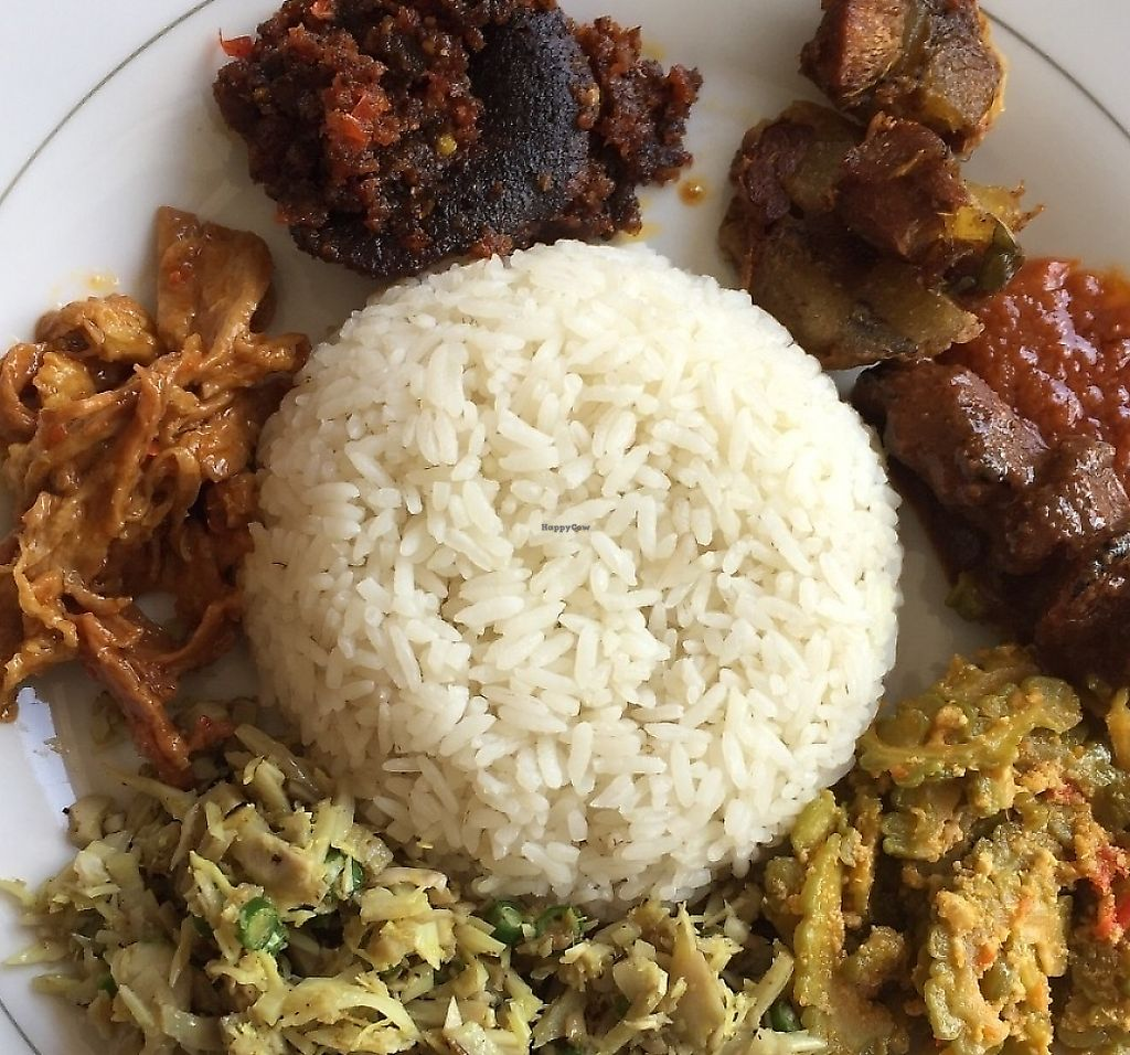 """Photo of Pande Vegetarian  by <a href=""""/members/profile/RajDollar"""">RajDollar</a> <br/>Nasi Campur - mock meat skewer and jackfruit curries  <br/> May 31, 2017  - <a href='/contact/abuse/image/93140/267470'>Report</a>"""