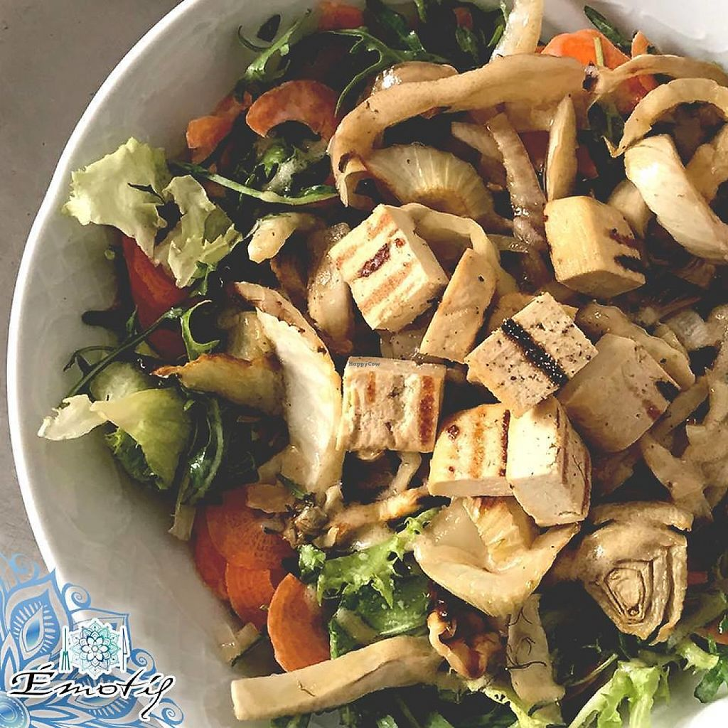 """Photo of Emotif Restaurant  by <a href=""""/members/profile/community5"""">community5</a> <br/>Mixed salad with fennel, vegan caramel drizzle, carrots and grilled tofu  <br/> May 31, 2017  - <a href='/contact/abuse/image/93148/264452'>Report</a>"""