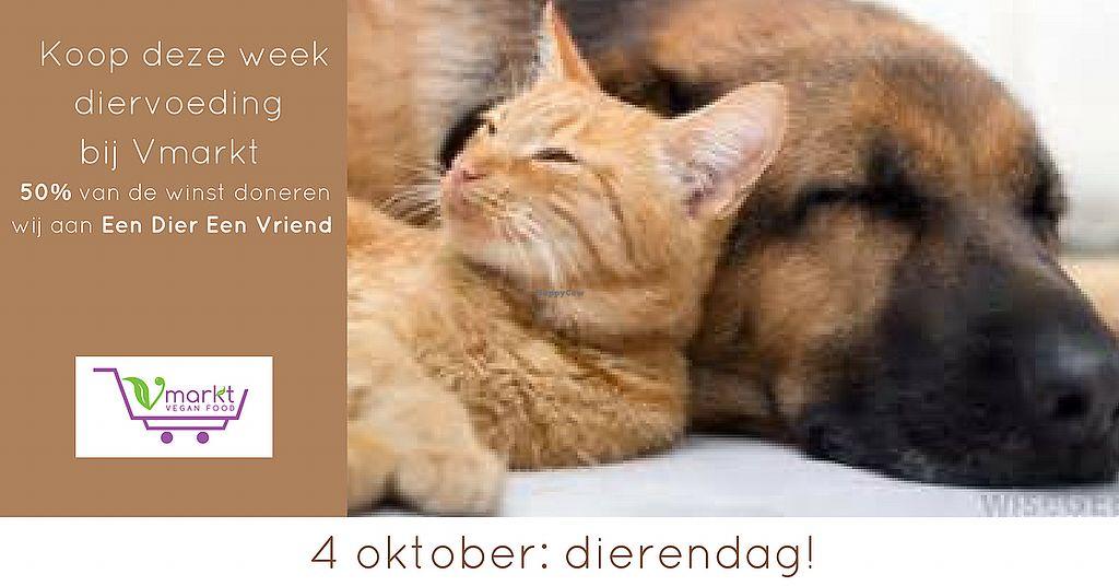 """Photo of Vmarkt  by <a href=""""/members/profile/info%40vmarktwebshop.nl"""">info@vmarktwebshop.nl</a> <br/>Vmarkt steunt deze week het goede werk van stiching Een Dier Een Vriend. Een Dier Een Vriend (EDEV) is een Nederlandse stichting die zich inzet voor dierenrechten. De stichting verzorgt onder andere de certificering voor The Leaping Bunny Program binnen Nederland voor dierproefvrije cosmetica, verzorgings- en huishoudelijke producten. Bij iedere aankoop van diervoeding steun jij ze automatisch ook <br/> October 3, 2017  - <a href='/contact/abuse/image/93151/311304'>Report</a>"""