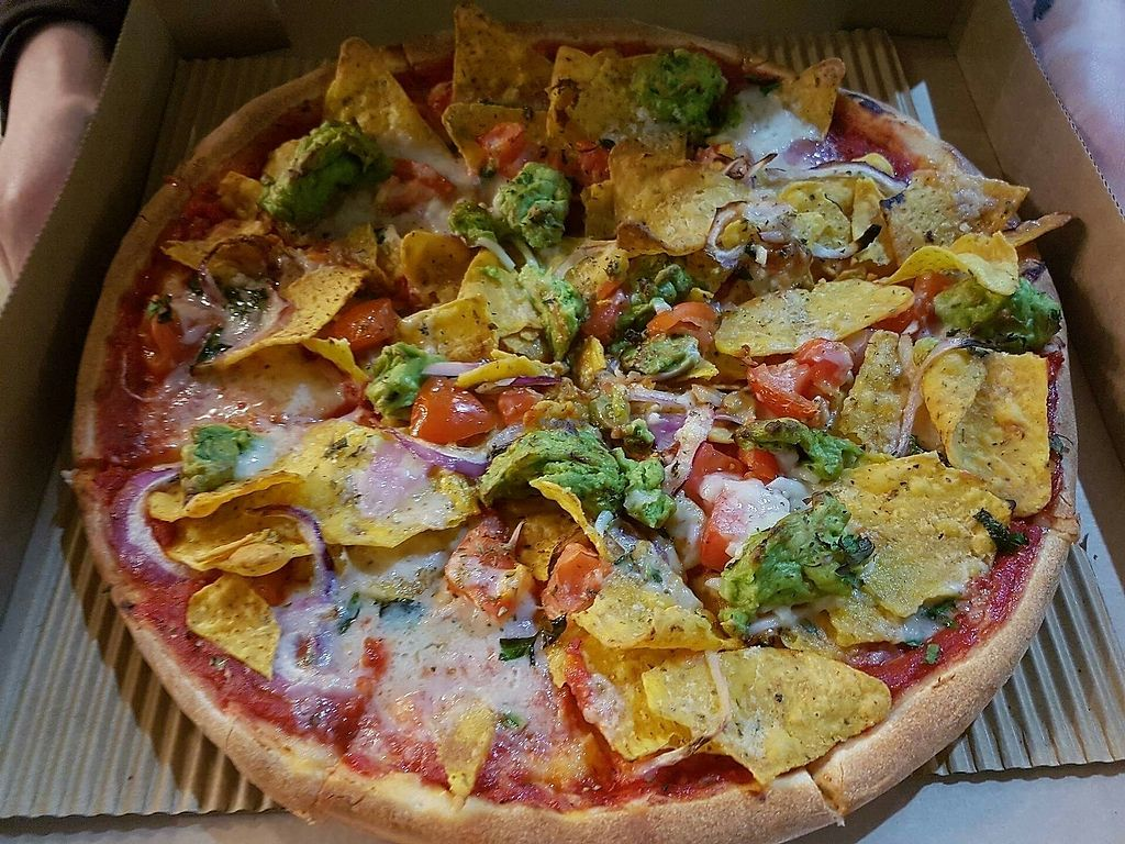 """Photo of Parrino's Pizza  by <a href=""""/members/profile/RachelMoore"""">RachelMoore</a> <br/>Vegan Nacho Pizza <br/> July 21, 2017  - <a href='/contact/abuse/image/93155/282832'>Report</a>"""