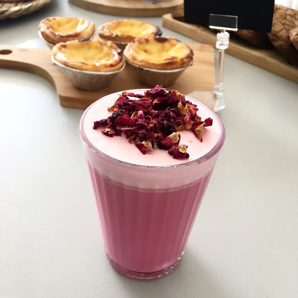 "Photo of 2 Girls' Cafe  by <a href=""/members/profile/2GirlsCafe"">2GirlsCafe</a> <br/>Rose latte is one of our best vegan drinks. In our cafe you can also find charcoal latte with date syrup, turmeric latte, lavender and beetroot latte <br/> June 26, 2017  - <a href='/contact/abuse/image/93159/273654'>Report</a>"
