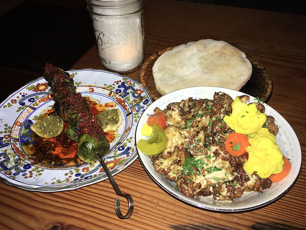 """Photo of Aviv  by <a href=""""/members/profile/DianeH"""">DianeH</a> <br/>Brussels sprouts, cauliflower, and pita <br/> January 4, 2018  - <a href='/contact/abuse/image/93167/342818'>Report</a>"""