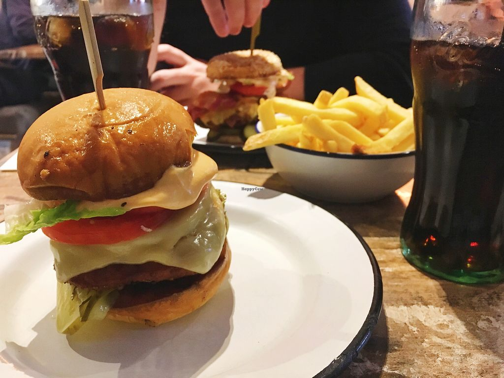 """Photo of Bread Meats Bread  by <a href=""""/members/profile/joannamariewest"""">joannamariewest</a> <br/>Vegan Fried Chick'n Cheeze Bacon Burger & Fries <br/> January 8, 2018  - <a href='/contact/abuse/image/93198/344166'>Report</a>"""