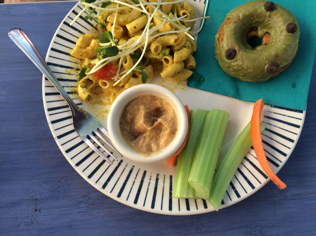 "Photo of Desert Roots Kitchen  by <a href=""/members/profile/Nagemireille"">Nagemireille</a> <br/>lunch = crazy Mac and cheese, hummus and veggies, and a doughnut <br/> February 24, 2016  - <a href='/contact/abuse/image/9333/137639'>Report</a>"