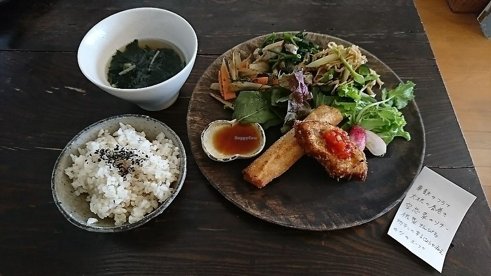 """Photo of Hinabi  by <a href=""""/members/profile/moka_a"""">moka_a</a> <br/>Lunch of the day (¥1000) with fried kurumabu(wheel-shaped gluten cake) & daikon spring roll as its main <br/> June 7, 2017  - <a href='/contact/abuse/image/93383/266599'>Report</a>"""