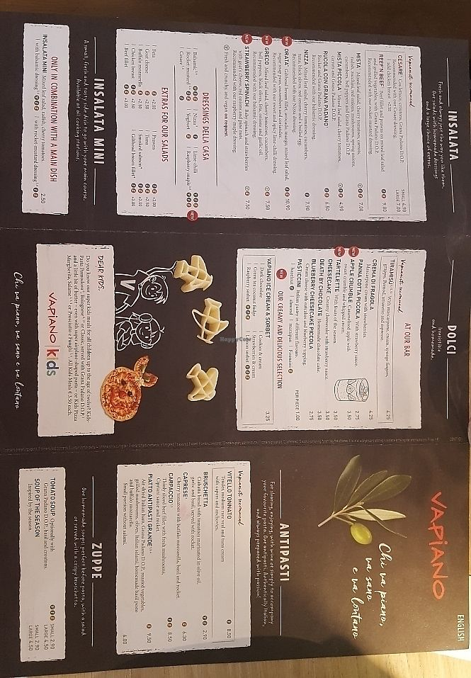 """Photo of Vapiano  by <a href=""""/members/profile/mohare22"""">mohare22</a> <br/>menu in english <br/> June 8, 2017  - <a href='/contact/abuse/image/93426/266884'>Report</a>"""