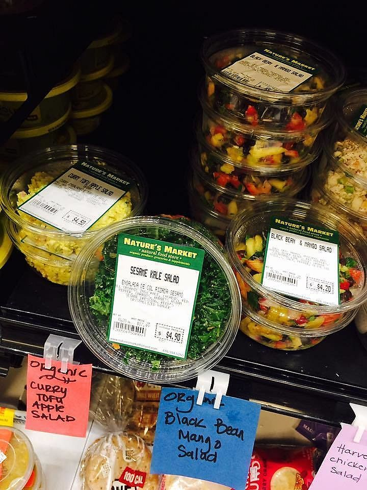 """Photo of Natures Market  by <a href=""""/members/profile/BeccaBochenek"""">BeccaBochenek</a> <br/>Prepared vegan salads to go <br/> February 25, 2018  - <a href='/contact/abuse/image/9342/363684'>Report</a>"""