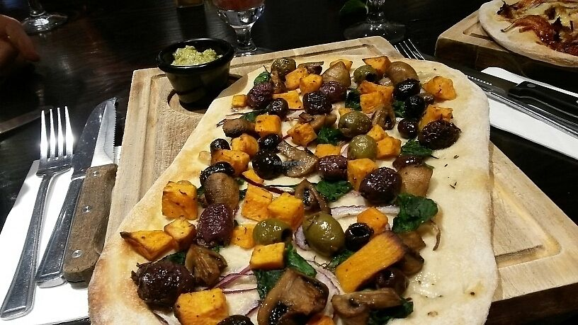 """Photo of Bitter & Twisted  by <a href=""""/members/profile/EstherColeman"""">EstherColeman</a> <br/>flat bread (olives instead of halloumi and baba ganoush instead of yoghurt) <br/> June 8, 2017  - <a href='/contact/abuse/image/93472/267111'>Report</a>"""
